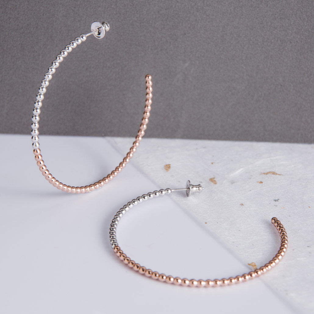 Judith Peterhoff Jewellery - BoulBoulle Two-Tone Handmade Large Hoop Earrings in Rose Gold and White Rhodium