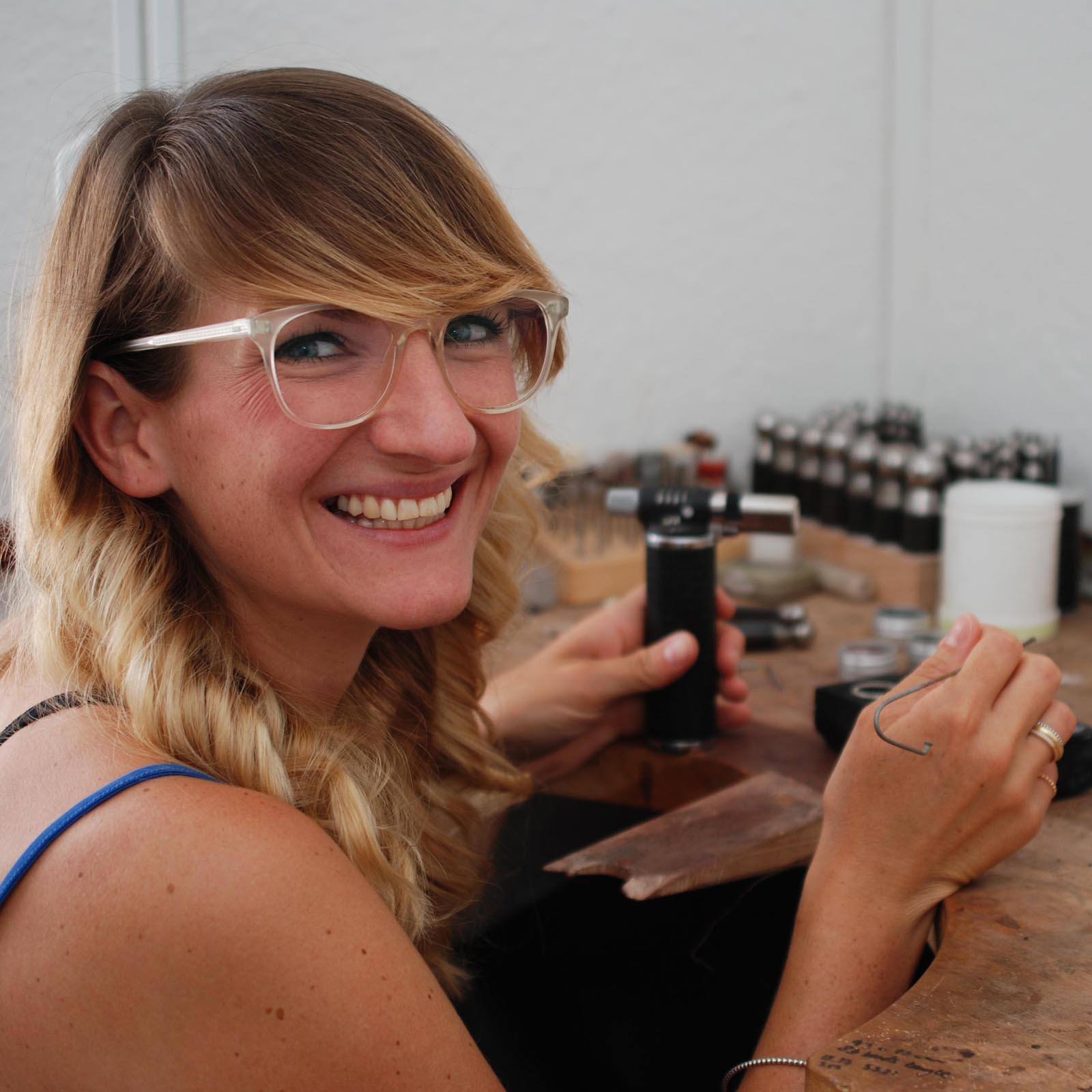Judith Peterhoff working at the bench, handcrafted jewellery made in North London