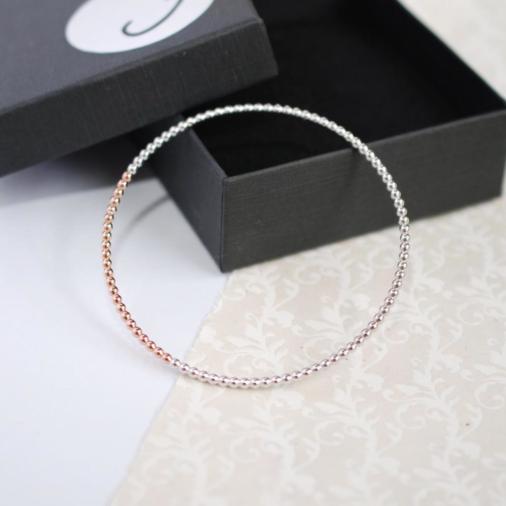 Judith Peterhoff Jewellery - BoulBoulle Handmade Stacking Bangle in Rose Gold and White Rhodium