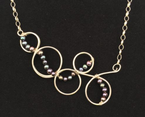 Judith Peterhoff Jewellery - Bespoke handmade Birthday Necklace in Silver and black pearls