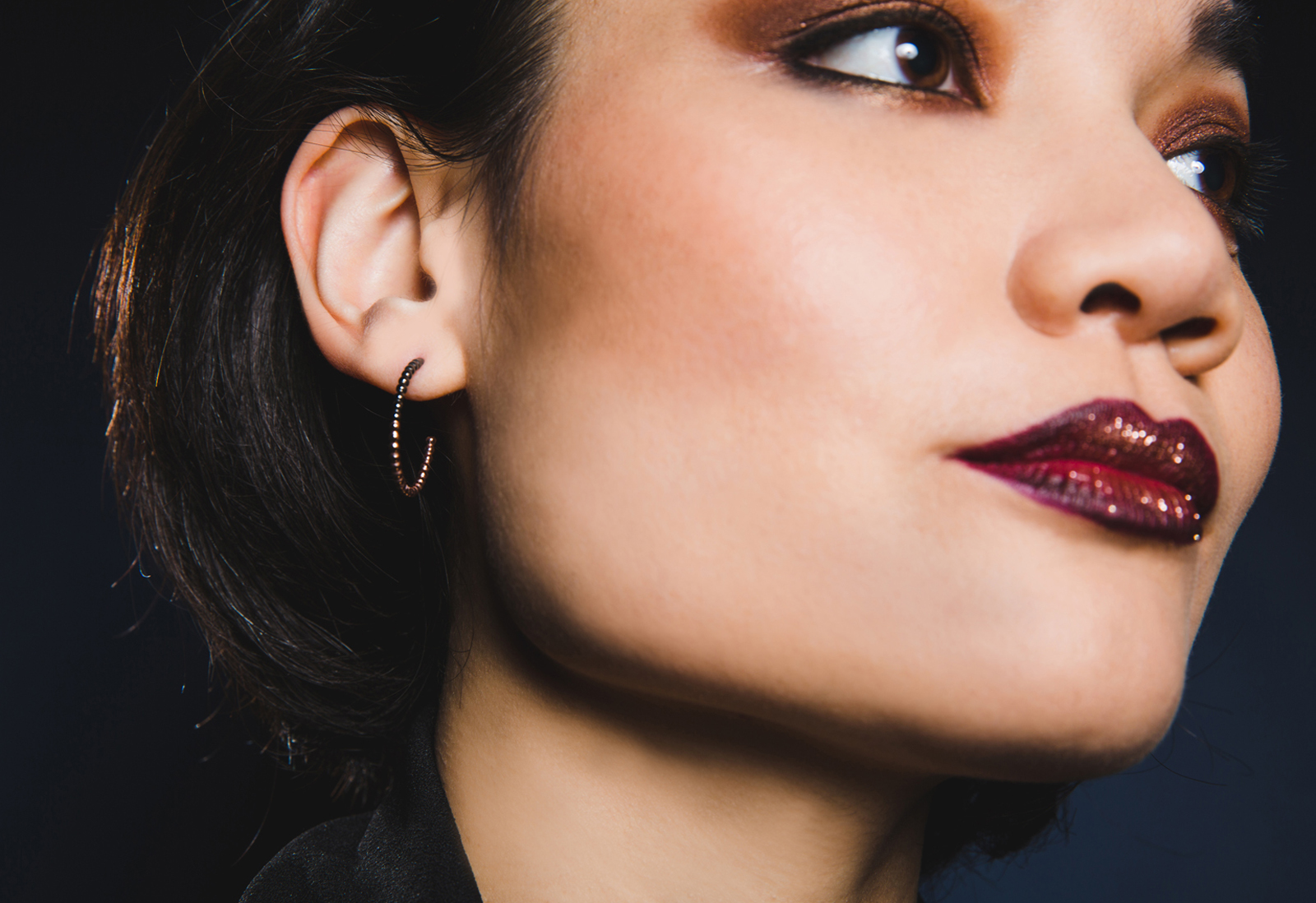 Judith Peterhoff Jewellery - BoulBoulle Two-Tone Handmade Small Hoop Earrings in Rose Gold and Black Rhodium