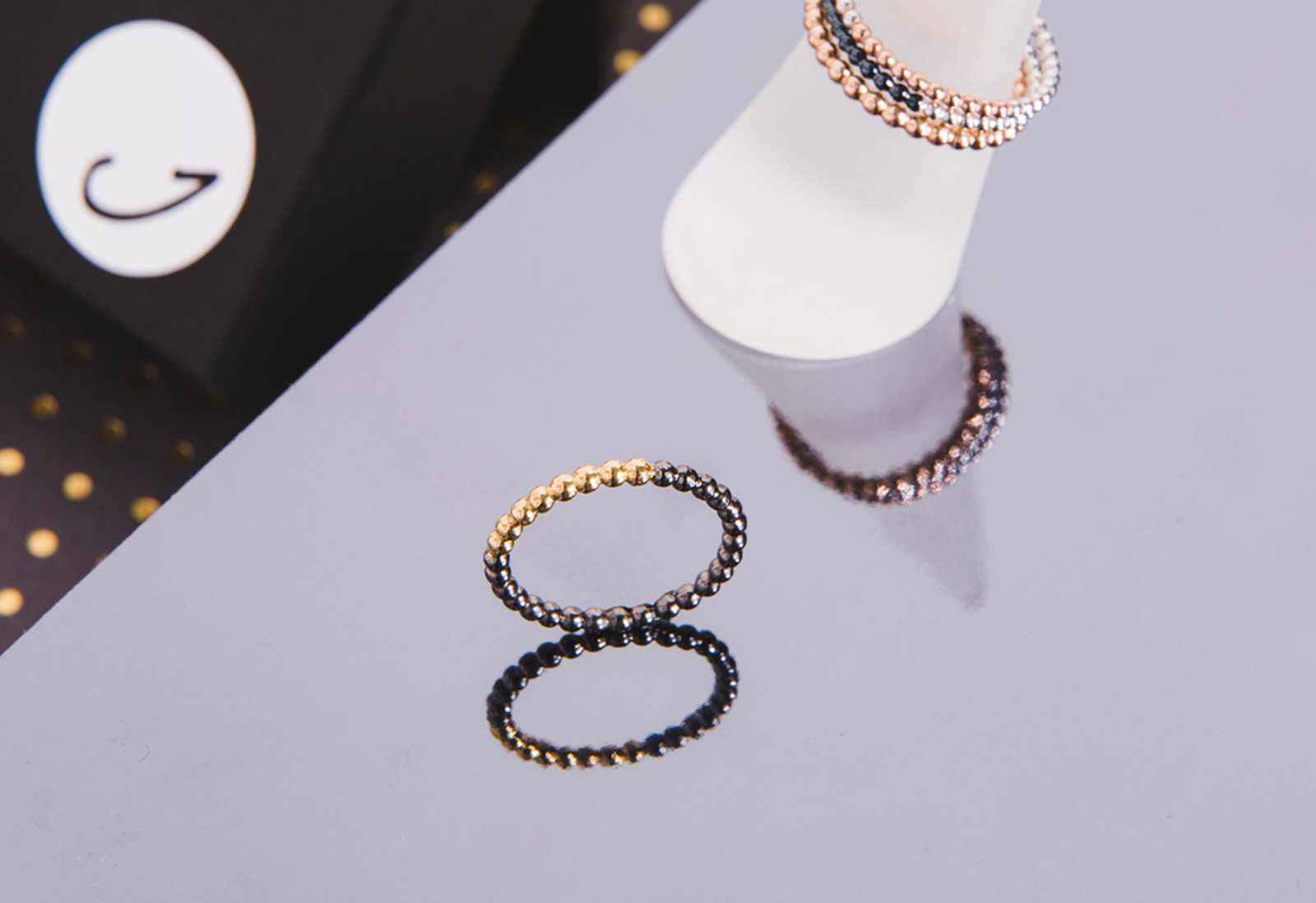 Judith Peterhoff Jewellery - BoulBoulle Handmade Stacking Ring in Yellow Gold and Black Rhodium