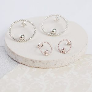 BoulBoulle Beaded Circle and Bead Studs in Sterling Silver
