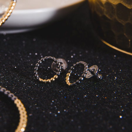 Circle Studs Yellow Gold Black Rhodium StillLife2