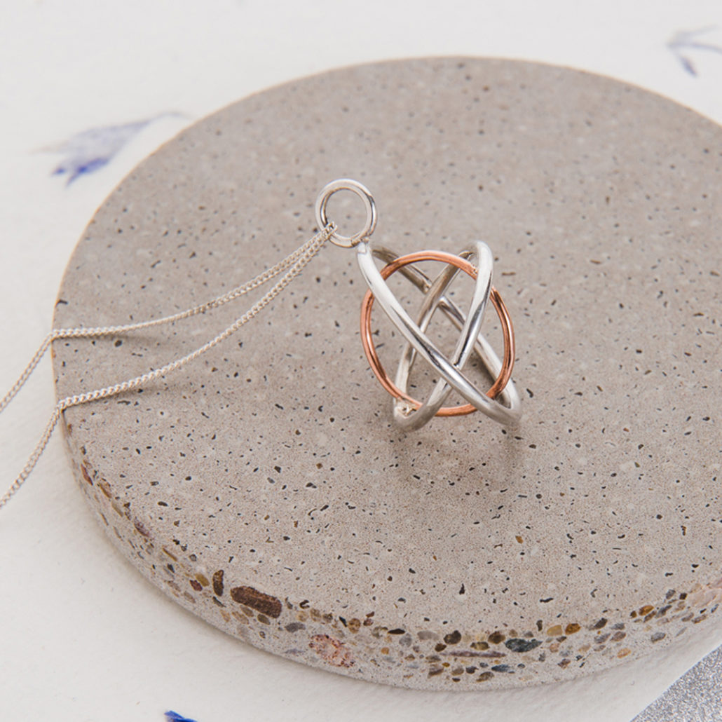 Judith Peterhoff Jewellery - bespoke handmade family pendant in silver and copper
