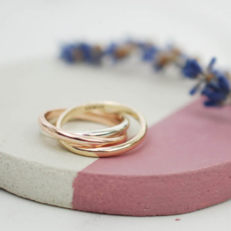Russian Wedding Band in rose, yellow and white gold